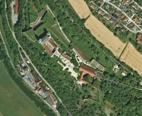 Willibaldsburg, Eichstätt. Quelle: Google Earth.