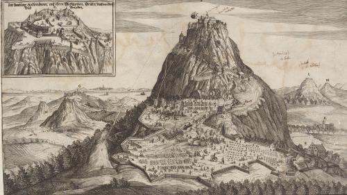 Der Hohentwiel während der Belagerung 1641. Quelle: Württembergische Landesbibliothek Stuttgart, Sammlung Nicolai.