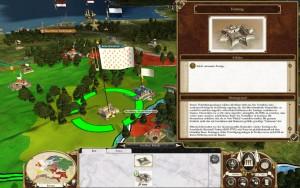 Fort und befestigte Stadt auf der strategischen Karte. Daneben ein Infokästchen über den Festungsbau in Empire Total War.